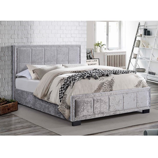 Masira Fabric Double Bed In Steel Crushed Velvet_1