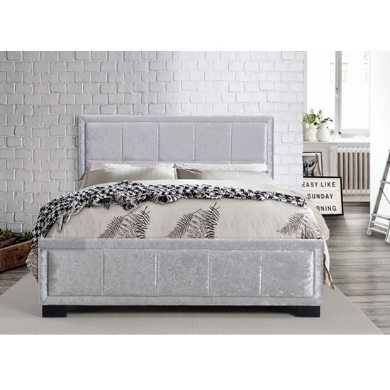 Masira Fabric Double Bed In Steel Crushed Velvet_2