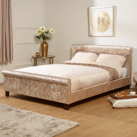 Masira Fabric Bed In Gold Velvet With Wooden Legs