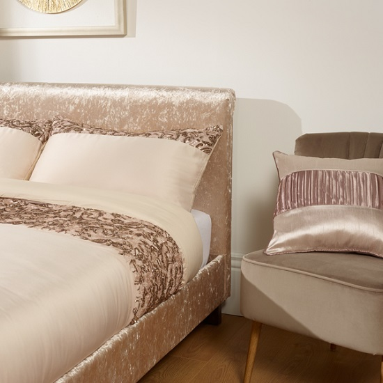 Masira Fabric Bed In Gold Velvet With Wooden Legs 30251