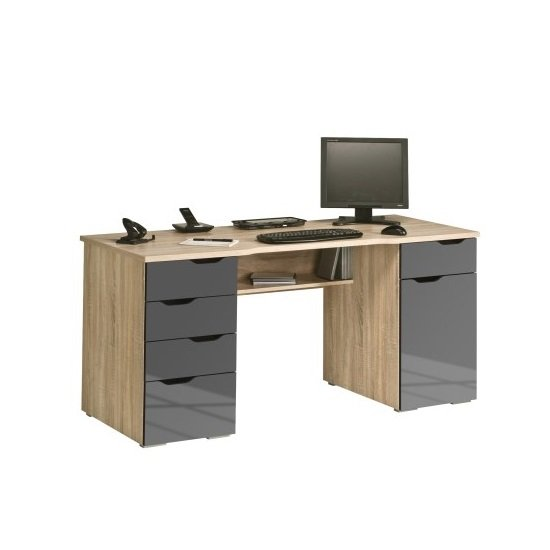 Mason Computer Work Station In Sonoma Oak And Grey Gloss