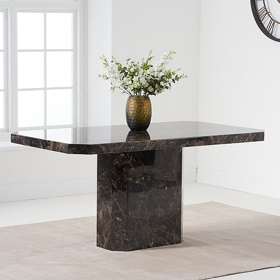 Massa Marble Dining Table In Brown High Gloss