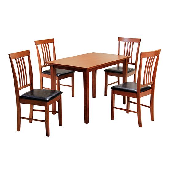 Massa Medium Dining Set In Mahogany With 4 Chairs