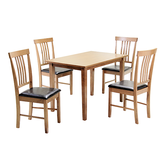 Massa Medium Dining Set In Oak With 4 Chairs