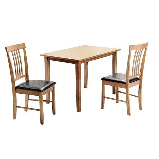 View Massa small dining set in oak with 2 chairs