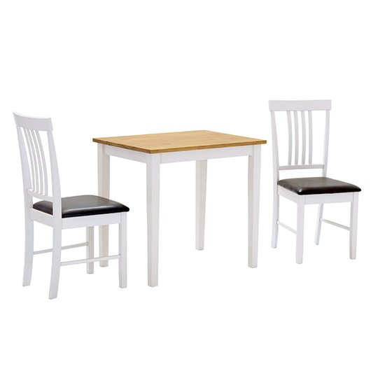 Massa Small Dining Set In White With 2 Oak And White Chairs