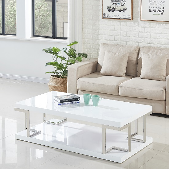 Massimo Coffee Table In White Gloss And Stainless Steel Frame