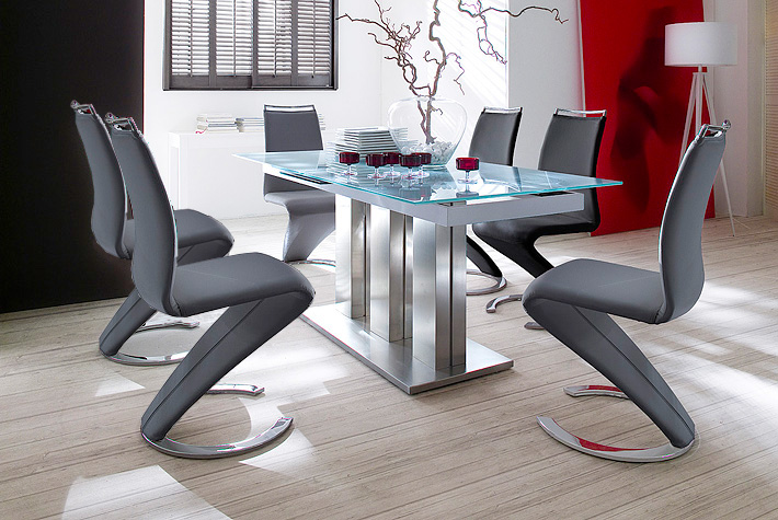 Massimo Extendable White Glass Table With 6 Black Chairs