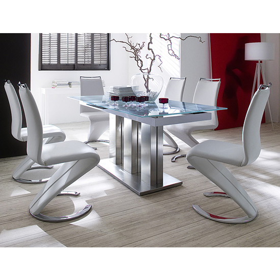 Massimo Extending Dining Table In White Glass And 4 White Chairs