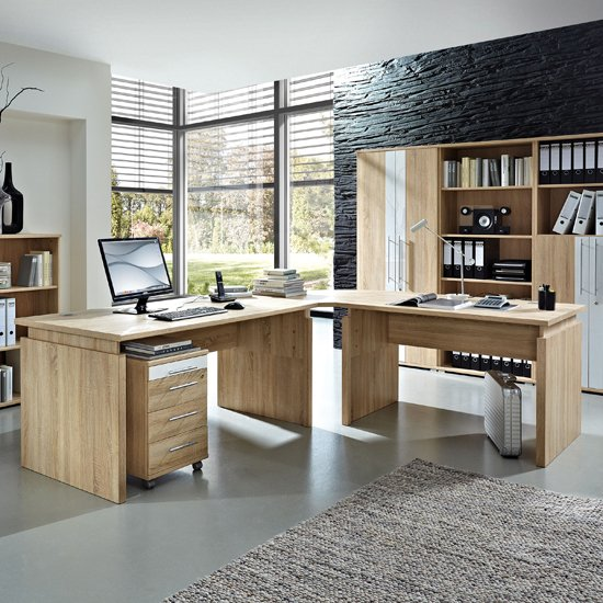 Master Canadian Oak Corner Computer Desk with Cabinet