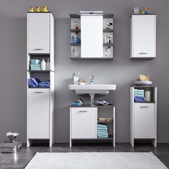 Matis Wall Mounted Bathroom Cabinet In White And Smoky Silver_4