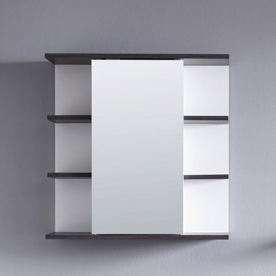 Matis Wall Mirrored Cabinet In White And Smoky Silver