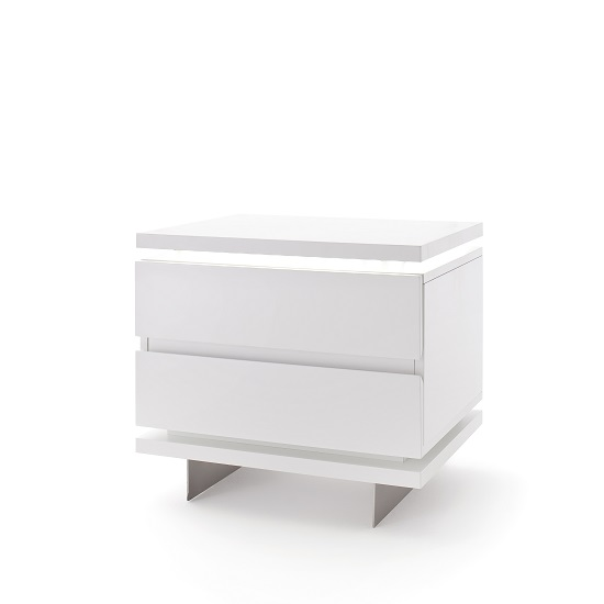 Matis Bedside Cabinet In White Gloss With 2 Drawers And LED_2