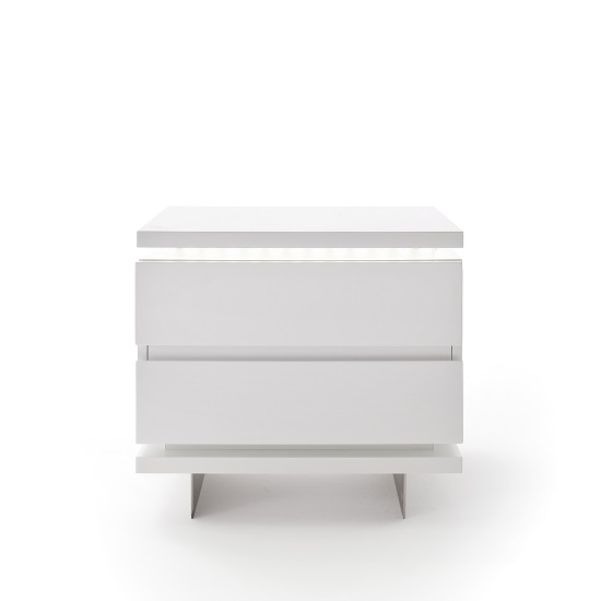 Matis Bedside Cabinet In White Gloss With 2 Drawers And LED_3