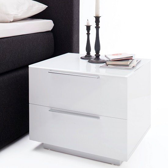 Compact Bedside Table fresh bedside cabinet in white glass top and high gloss