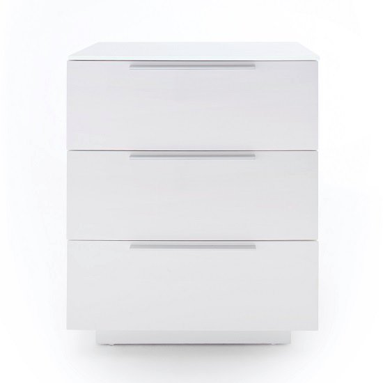 Fresh Tall Bedside Cabinet In White Glass Top And High Gloss_2