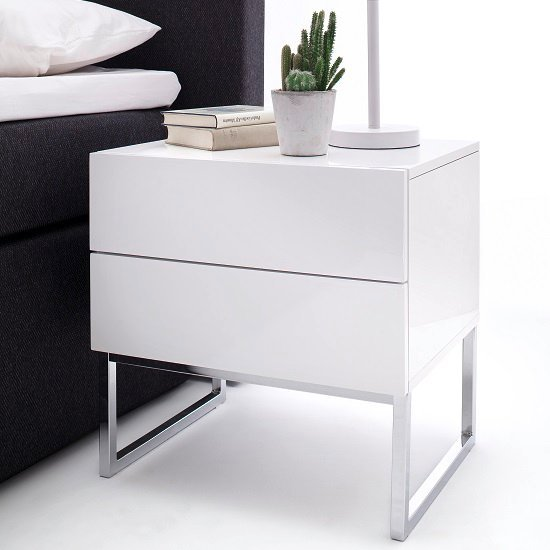 Strada Bedside Cabinet In White High Gloss With  Drawers_