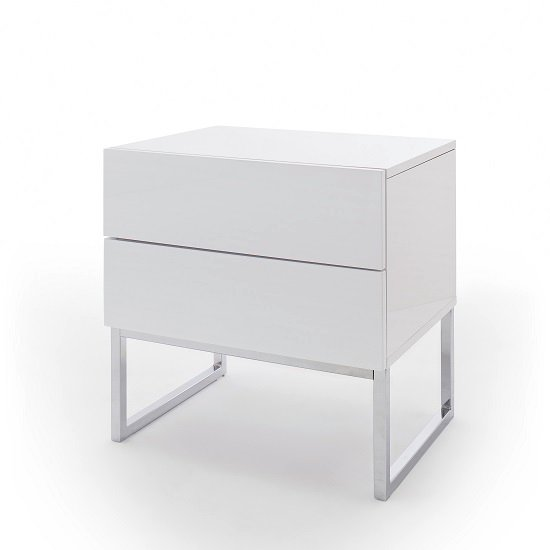 Strada Bedside Cabinet In White High Gloss With 2 Drawers_2