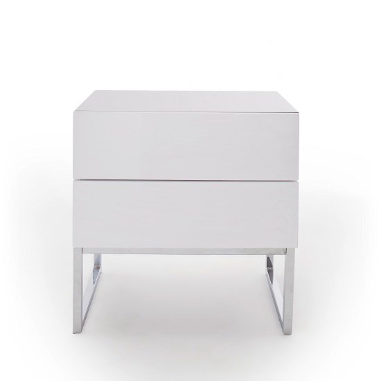 Strada Bedside Cabinet In White High Gloss With 2 Drawers_3