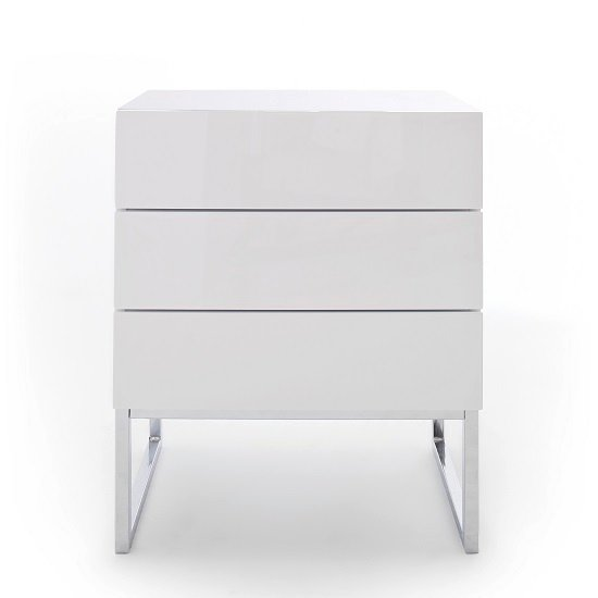 Strada Bedside Cabinet In White High Gloss With 3 Drawers_3