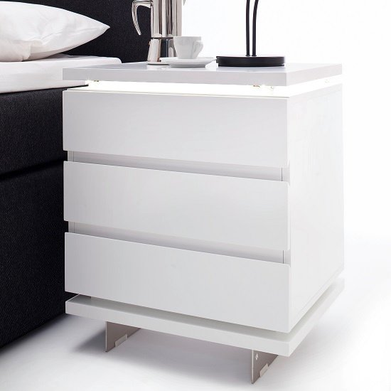 Matis Bedside Cabinet In Matt White With 3 Drawers And LED