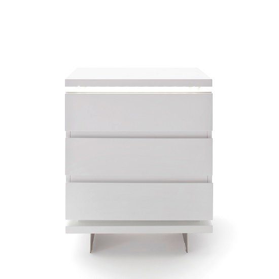 Matis Bedside Cabinet In White Gloss With 3 Drawers And LED_3