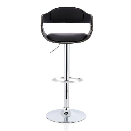 Matos Bar Stool In Black Faux Leather With Chrome Base