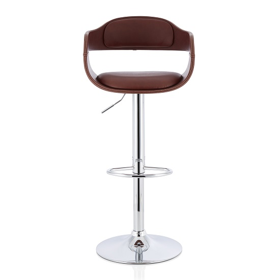 Matos Bar Stool In Brown Faux Leather With Chrome Base