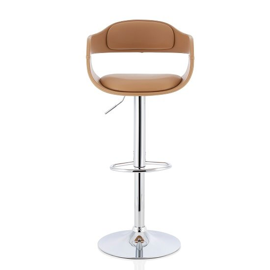 Matos Bar Stool In Taupe Faux Leather With Chrome Base