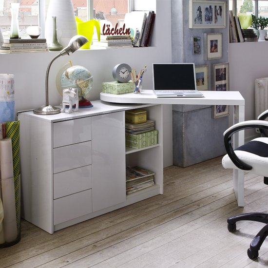 Matt Swivelling Computer Desk in High Gloss White_1
