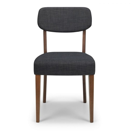 Matteson Dining Chair In Walnut With Grey Linen Fabric In A Pair_2