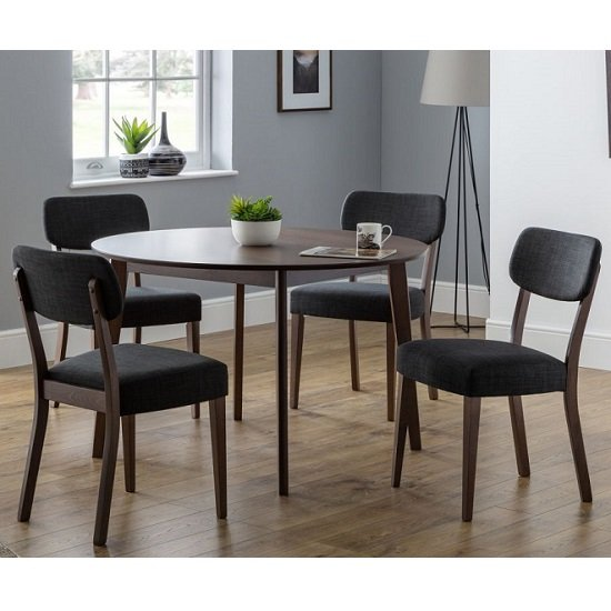 View Matteson round dining table in walnut with 4 dining chairs