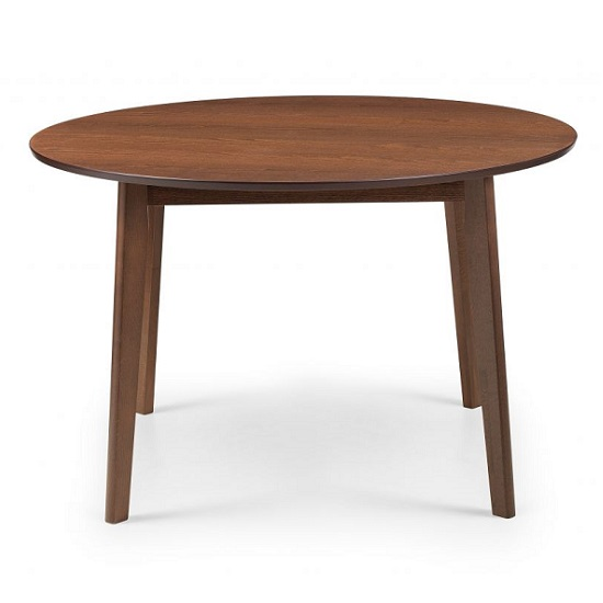Matteson Wooden Round Dining Table In Walnut Effect