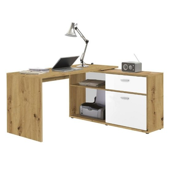 Mattia Wooden Corner Computer Desk In Artisan Oak And White