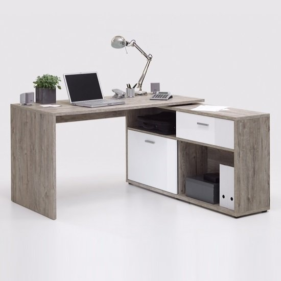 Mattia Corner Computer Desk In Sand Oak And White High Gloss