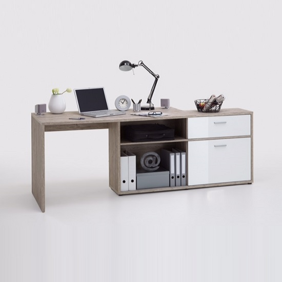 Mattia Corner Computer Desk In Sand Oak And White High Gloss_2