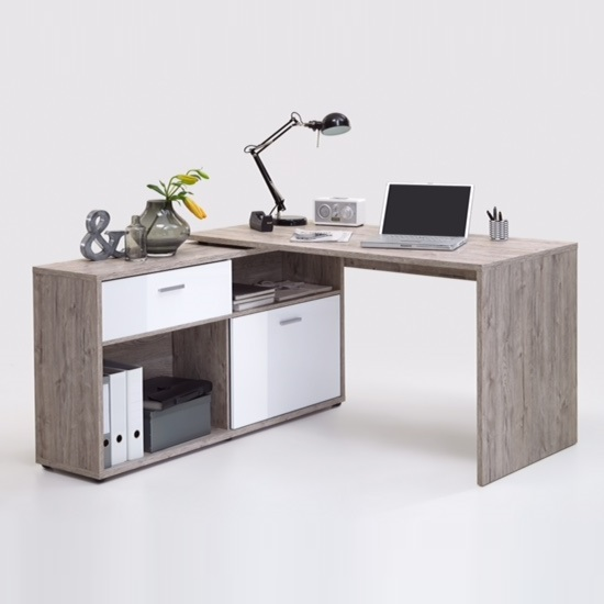 Mattia Corner Computer Desk In Sand Oak And White High Gloss_3