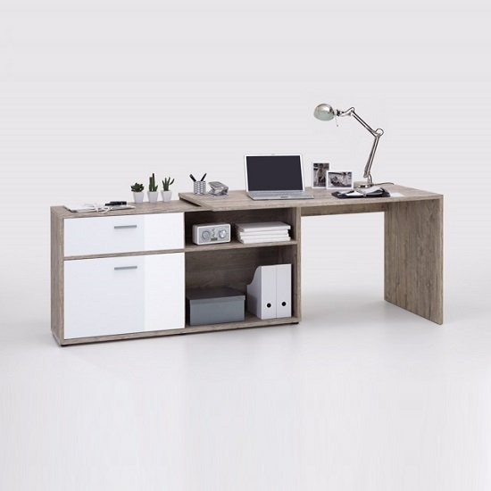 Mattia Corner Computer Desk In Sand Oak And White High Gloss_4