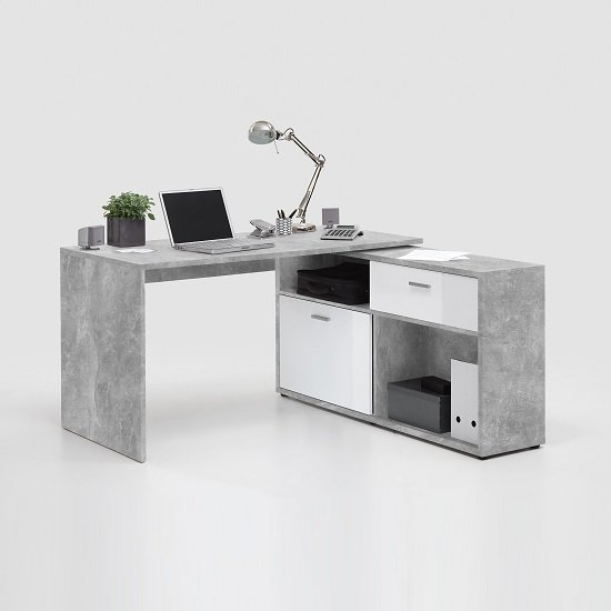 mattia corner computer desk in white gloss and light. Black Bedroom Furniture Sets. Home Design Ideas
