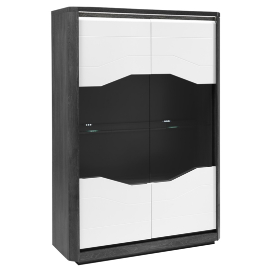Mattis Display Cabinet In Gloss Grey Oak And White With LED_3