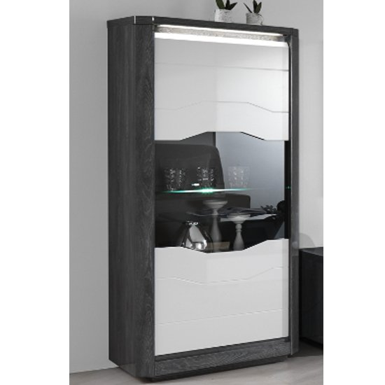 Mattis Display Cabinet In Gloss White And Grey Oak With LED