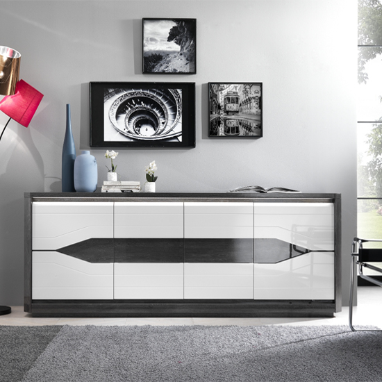 Mattis Large Sideboard In Gloss Grey Oak And White With LED