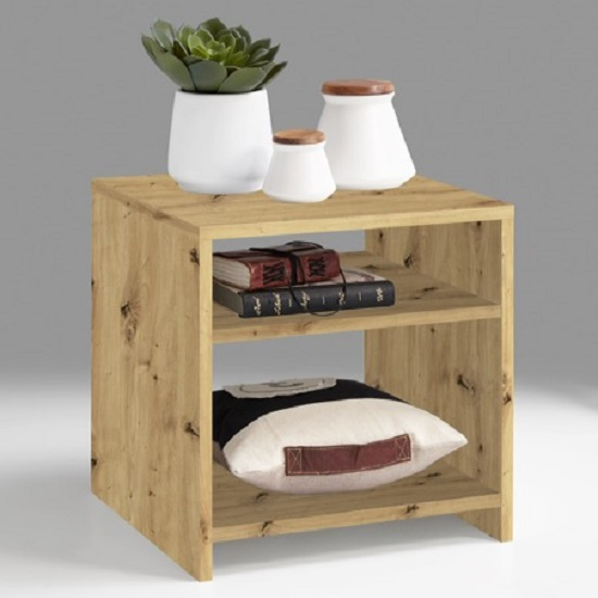 Mattis Compact Wooden Side Table In Artisan Oak