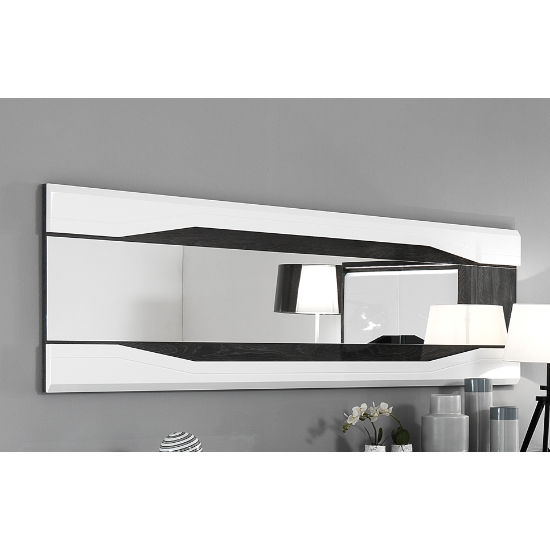 Mattis Wall Bedroom Mirror In Gloss Grey Oak And White