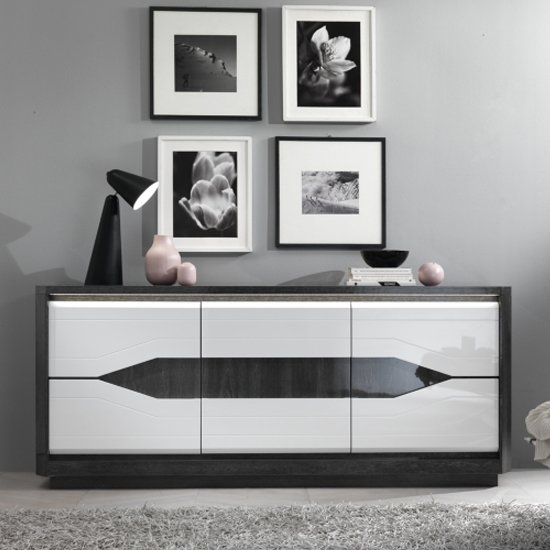 Mattis Wooden Sideboard In Gloss Grey Oak And White With LED