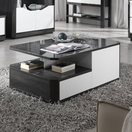 Mattis Wooden Storage Coffee Table In Gloss Grey Oak And White