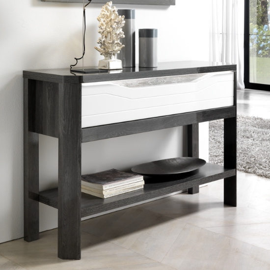 Mattis Wooden Storage Console Table In Gloss Grey Oak And White