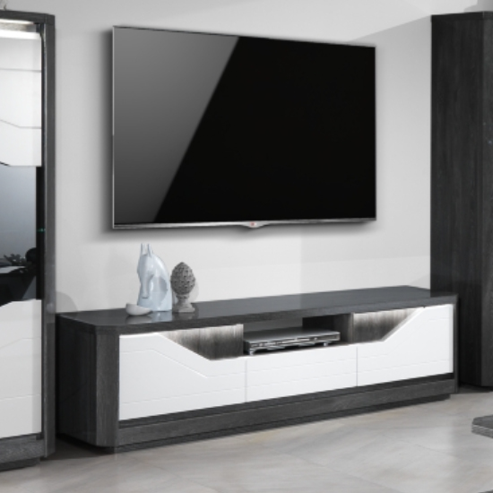 Mattis Wooden TV Stand In Gloss Grey Oak And White With LED