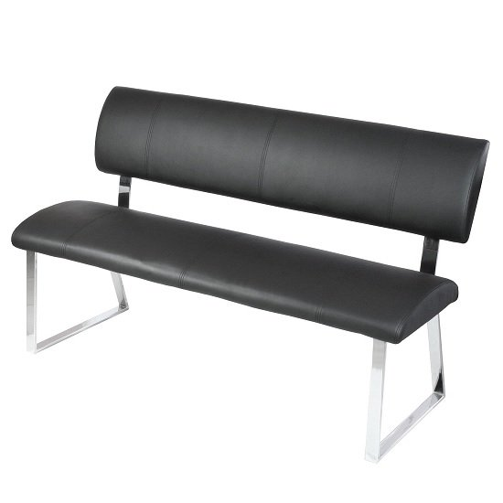 Mattis Dining Bench In Black Faux Leather With Chrome Base