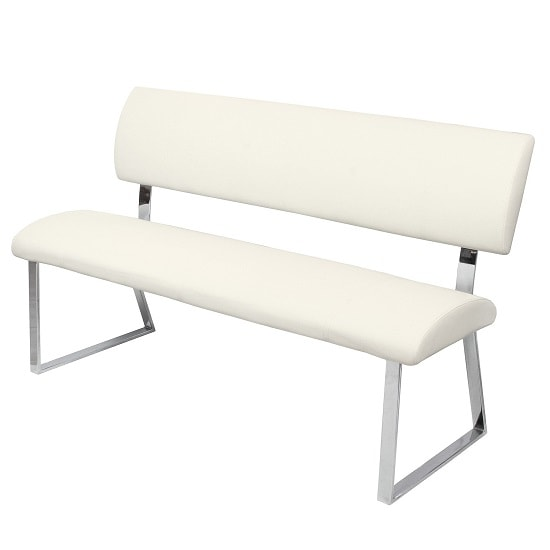 Mattis Dining Bench In Cream Faux Leather With Chrome Base